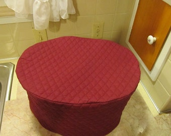 Burgundy Oval Crock Pot Cover Quilted Fabric Kitchen Small Appliance Covers Dust Cover Made to Order