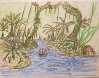 Original Colored Pencil Depiction of a Rainforest