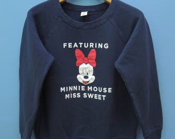 Vintage Minnie Mouse Miss Sweet Sweatshirt By Disney Pull Over Crewneck Cartoon Sweater Size XL