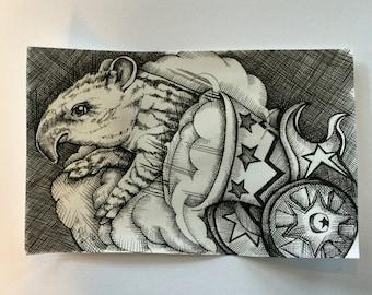 "Original 6"" x 4"" pen and ink crosshatch drawing: 'Propel' (tapir, cannon, circus)"