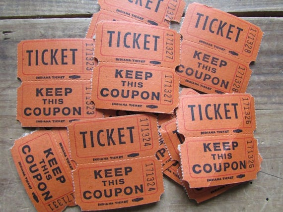 10 raffle tickets coupons vintage orange carnival coupons nos