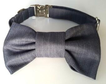 Grey Pinstripe Dog Bowtie