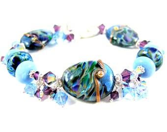 Blue & Purple Bracelet, Lampwork Bracelet, Glass Bracelet, Beadwork Bracelet, Beaded Bracelet, Art Glass Bracelet, Glass Jewelry  Rain Drops
