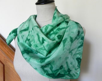 "Large square silk scarf Hand dyed shades of green 30"" square silk scarf Ready to Ship Abstract leaves design Silk Scarf #429"