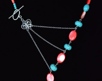 Coral & Turquoise Adrienne Adelle Signature Necklace - Red Coral Shell, Turquoise and Sterling Silver Asymmetrical Gemstone Necklace