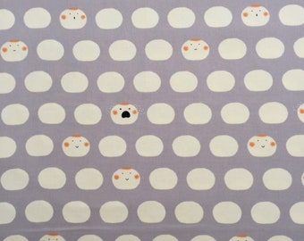 """Emotional dumplings on a grey background - 100% cotton oxford - made in Japan - 1/2 yard increments - 44"""" wide"""