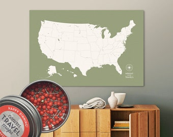 Push Pin USA Map (Moss) Travel Map Push Pin Map Travel Gift Road Trip Map of the USA on Canvas Personalized Gift For Family Name Sign