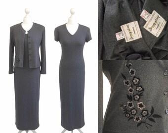 Joseph Ribkoff   90's Dress   Grey Jersey Tube Dress And Jacket