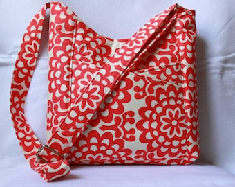 Cross Body Tote Bag with Front Pockets - Wallflower Cherry by Amy Butler