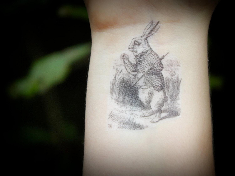 Das weiße Kaninchen Alice im Wunderland temporäre Tattoo - Tattoo Alice Im Wunderland