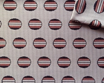 Vintage Fabric 60's Mod, Polyester, Brown, White, Large Polka Dot, Material, Mod