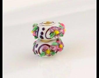 BEADS-MURANO Glass Beads- Large hole beads- Murano European- Murano Lampwork Beads-beading supplies-destash-jewelry supplies and findings