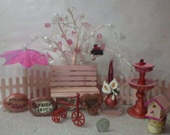 Pink and Red Valentine's Day Fairy Garden Miniature Assortment