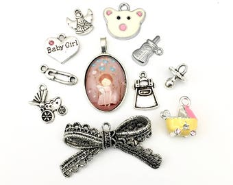 11 baby charms and pendant collection antique silver  #ENS A156
