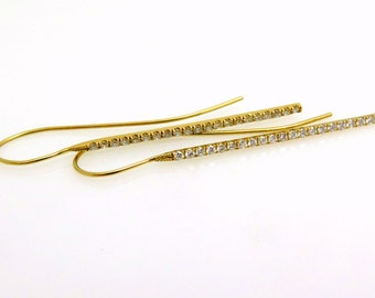 Diamond earrings, Pave diamond earrings, Bar earrings gold, Long bar earrings, 14k gold earrings, Minimalist, Diamond dangle earrings