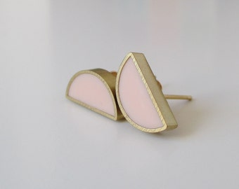 peony, blush pink brass half moon stud earrings