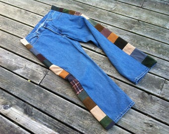 MENS PATCHWORK JEANS Handmade Upcycled Jeans Hippie Patchwork Pants Patch Jeans Mens Jeans Mens Pants Cord Patchwork Hippie Jeans 37 x 29