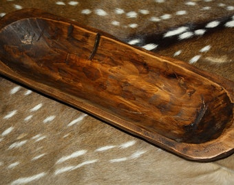Carved Wooden Dough Bowl Primitive Wood Tray Trencher Rustic Home Decor 21  1/4 Inch