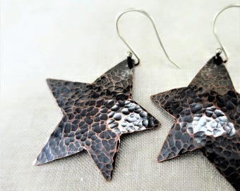 Copper Earrings • Dangle Earrings • Star Earrings • Lightweight Earrings • Mixed Metal Earrings • Lightweight Earrings • Drop Earrings