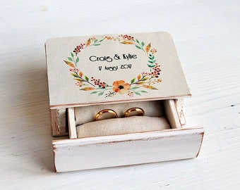 Ring Bearer Box, Wedding Ring Box, Personalized Box wedding ring holder Wedding Ring Holder Pillow Bearer Box Watercolor wreath wedding boho