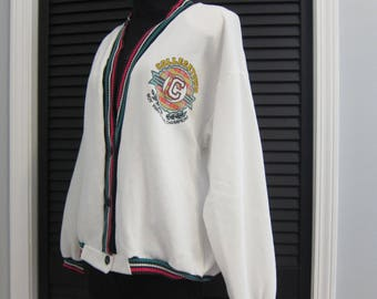 Vintage Novelty Cardigan Collegetown Boy Watching Club Size Medium Vintage Teen White Knit 80's 90's