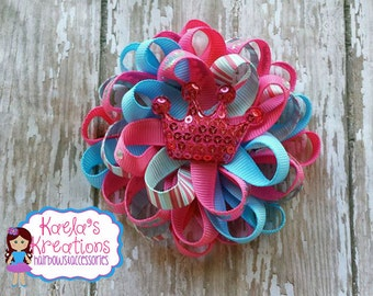 Pink and Blue Crown Hair Bows, Blue and Pink Crown Hair Bows, Crown Hair Bows, Princess Hair Bows, Loopy Hair Bows.