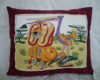 Embroidered Pillow made of lion counted stitches