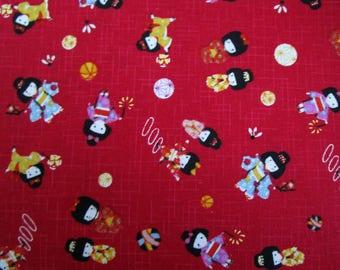 Japanese fabric coupon girl Japanese dark red background
