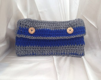Kindle Fire Sleeve, 100% Handmade Crochet, Double-Buttoned, Two-colored Stripes, Color Combo: Jersey Stripes