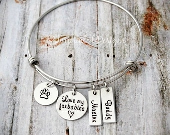 Silver Bangle Bracelet - Love my furbabies - Dog Lover - Furbaby - Personalized Pet Name - Hand Stamped - Wire Bangle