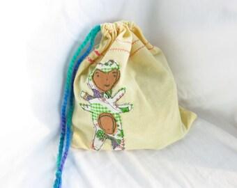 Critter Bag #5 - Appliqued gift bag - many-armed monster, handsewn, handstitched, recycled materials, repurposed sheet, drawstring bag, kids
