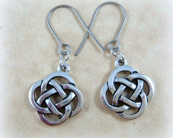 Celtic Earrings - Celtic Open Knot Earrings - Infinity Knot Earrings - Silver Celtic Earrings - Irish Charm Earrings, Everyday Earrings