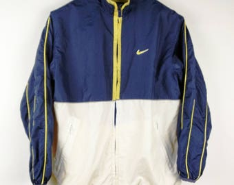 RAD Retro NIKE 1990's Throwback Swoosh Windbreaker Jacket - Lightning Yellow, Blue, Aqua and White - Unisex Small