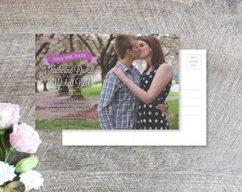 Rustic Romantic Floral Save the Date Photo Card Wedding Invitation Calligraphy Whimsical Watercolor Stripe Country Indie Painted Elegant