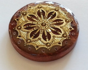 Western Style Concho Cabochon Basket Center Pine Needle Basket Base in Resin - Gold on Brown