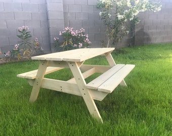 Customizable Kids Wooden Picnic Table