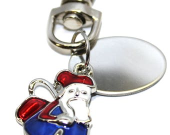 Engraved personalised happy  Santa Christmas Claus with sack charm keyring pouch LT26