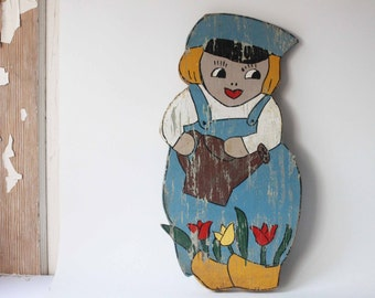 Vintage Wooden Dutch Boy, Folk Art, Garden Decor, Primitive, Hand Made Art