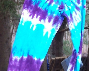 Tie Dyed Turquoise and Purple Spiral Women's Cotton Leggings