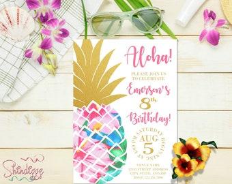 Pineapple Birthday Invitation, Tropical Birthday, Aloha Birthday Invitation, Luau Invitation, Hawaiian Invitation