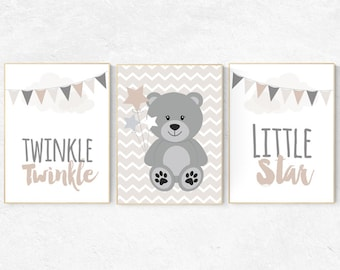 Bear Nursery Decor, Twinkle Twinkle Little Star, Gender Neutral Nursery,  Beige And Cream