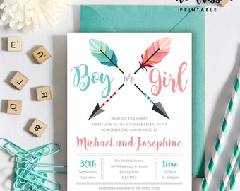 Arrow Gender Reveal Invitation | Boy or girl | 5x7 | Editable PDF File | Instant Download | Personalize at home with Adobe Reader