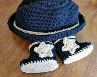 Crochet Newborn Baby Cowboy Hat and Boots Photo Prop