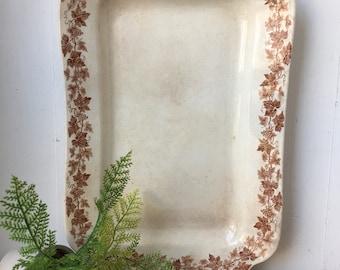 Antique English Iron Stone Platter Transferware, Brown and White