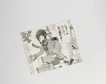 kantai collection Fubuki  Comic Book Upcycled Vinyl Card Holder Black and White