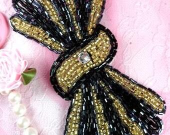 "FS3161 Bow Tie Black Gold Gunmetal Beaded Applique 5.25"" ( FS3161-bkgl)"