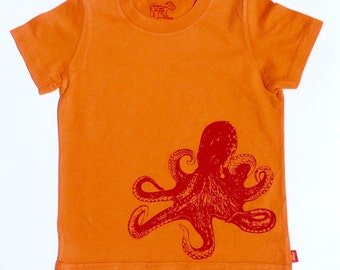 Organic S/S Orange Octopus T Shirt - 6 months to 12 years