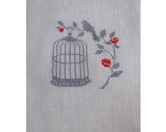 Fine embroidery Shabby bird embroidered on linen (sewing counted) cross stitch