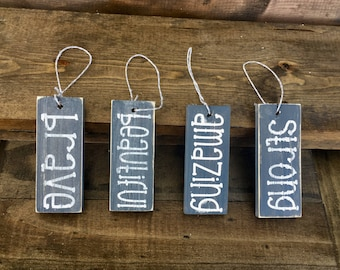 Set of 4 Inspirational Ornaments/Gift Tags