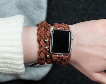 Apple Watch band 38mm 42mm women, brown leather women's Apple Watch Band, Apple Watch braided, Gopher